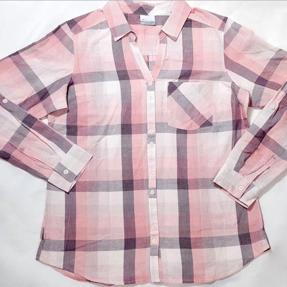 b4abb7ca1 Columbia Tops | Pink Plaid Button Down Shirt New | Poshmark